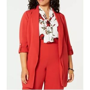 BAR III Red Plus Size Belted Shawl-Collar Jacket